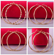 Elegant  Women's big hoop dangle 14k yellow gold filled Earrings jewelry