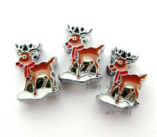 Christmas Rudolph 8mm DIY Slide Charm Fit Wristband/Pet Name Collar/strips