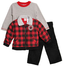 Baby Togs Baby Boys' 3 Piece Red Plaid Coat Waffle T-Shirt Corduroy Pants Set
