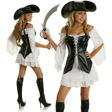 Adult Buccaneer Pirate Lady Costume Halloween Fancy Dress Party Outfit & Hat