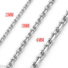 Punk Men's Women's 316L Stainless Steel Anchor Oval Chain Necklace 2mm 3mm 4mm