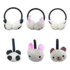 U79 GIRLS WINTER WARM EARMUFF NOVELTY ANIMAL DESIGN PANDA BEAR EAR WARMER HAT