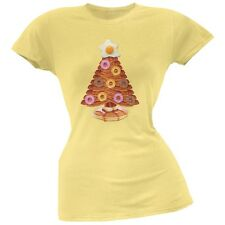 Breakfast Bacon And Eggs Christmas Tree Yellow Soft Juniors T-Shirt Top