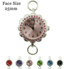Ladies Geneva Colored Stone With Matching Dial Round Beading Watch Faces 25mm