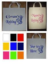 Personalised Tote Bag, Shopping Bag, Cotton Bag, Canvas Bag Knitting/Wool Gift,