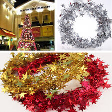 2.5m Colorful Classic Star Wire Foil Tinsel Garland Wedding Xmas Home Tree Decor