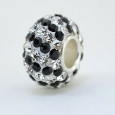Sterling Silver Core Murano Glass Charm Black & Clear Crystals Bead 88209