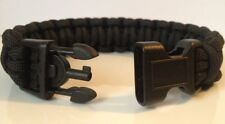 Police Tactical All Black 550 Paracord Survival Bracelet w/ Handcuff Key Buckle