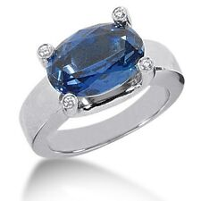 0.10CT Diamond and Sapphire Fancy Color Stoned Ring 14kt White Gold