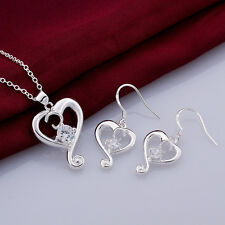 Xmas Gift 4 Colors 925Sterling Silver Zircon Heart Necklace+Earrings Set S737A-D