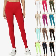 TheMogan Basic Plain SOLID Stretch ANKLE Full Length LEGGINGS Footless Seamless