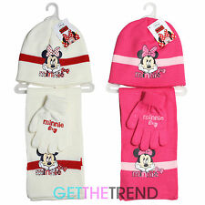 Girls Official Minnie Mouse Hat Scarf Glove Set Kids Disney Winter Accessory Set