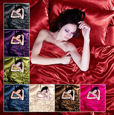 Sexy Satin 6Pcs Silky Bedding Sets Queen Duvet Cover Fitted Sheet & 4x Pillowcas