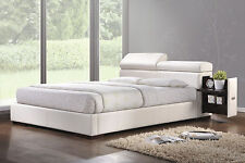 Manjot Faux Leather bed with night stand storage built in