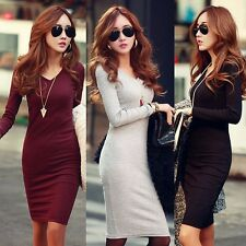 Women Winter Slim Fit Casual Bodycon Cocktail Party Office Work Wear Mini Dress