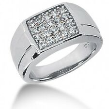 0.94CT Men's Round Brilliant Cut Diamond Ring in 14kt White Gold
