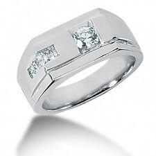 1.00CT Certified Men's Ring with Round and Princess Cut Diamonds 14k White Gold