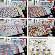 Hummingbird Cotton Reversible Duvet Quilt Cover with Pillow Case Bedding Set