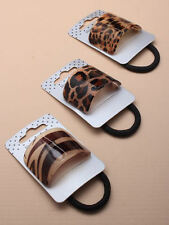 ANIMAL PRINT PONY TAIL CUFF RING ROPE HAIR BAND WRAP HOLDER WITH BLACK ELASTIC