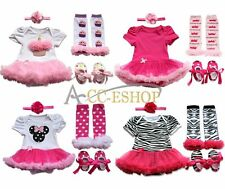 4pcs Newborn Infant Baby Girl Headband+Romper+Legs Warmer+Shoes Outfit Clothes