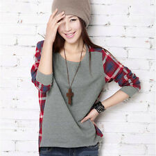 Women Long Sleeve Blouse Crew Neck Plaid Checked Casual Loose T-shirt Blouse Top