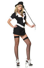 Sexy Gangster Moll Pinstriped Dress Adult Halloween Costume Brand New