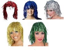 Metallic Tinsel Foil Short Wig Mardi Gras Masquerade Shiny Costume Accessory