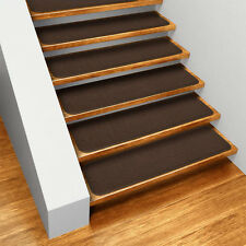 Set of 15 SKID-RESISTANT Carpet Stair Treads CHOCOLATE BROWN runner rugs