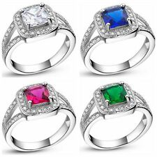 Sz6-9 2CT Zircon Ruby Emerald CZ 10KT White Gold Filled Women's Engagement Ring