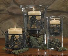 Pinecone Candle Pan by Park Designs, Laser Cut, Textured Black Finish, Choice