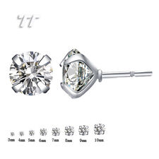 TT Stainless Steel Clear CZ Round Stud Earrings A Pair 3mm-8mm (ER04A)