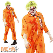 Zombie Convict Inmate Mens Halloween Fancy Dress Prisoner Adult Horror Costume