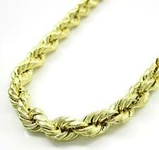"24-36"" 6mm 10k Yellow Real Gold Diamond Cut Rope Chain Necklace Mens Ladies"