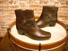 Clarks Brown Leather Ingalls Rosa Ruched Ankle Boots NEW