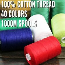 100% COTTON ALL PURPOSE SEWING THREAD LONG STAPLE 1000M SPOOLS 40 COLORS 50/3