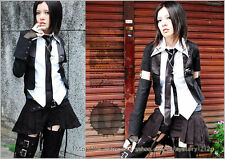 punk rock emo preppie exorcist academy layered look sleevelet shirt w/ tie Y242