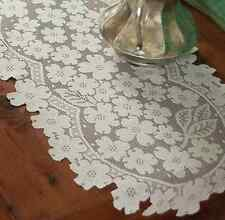 """Heritage Lace 53"""" DOGWOOD Table Runners  - 2 Colors: Choose White or Ecru"""