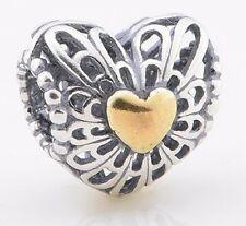 Sterling Silver 925 European Charm Vintage Heart w/ Gold Plate Bead 88604