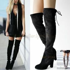UK2.5-6 Lady's Leather Thigh High Over the Knee Boot High Heels Slim Leg Booties