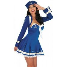 ADULT SEXY BLUE FLIRTY SAILOR GIRL FANCY DRESS COSTUME - SIZES S-M-L-XL-XXL