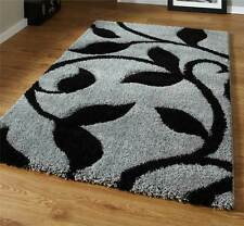 Grey and Black High Density Thick Pile Hand Carved Shaggy Rug