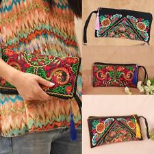 Vintage Women's Handwork Embroidered Evening Clutch Handbag Coin Purse Wristlet