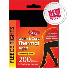 200 DENIER THERMAL FLEECE TIGHTS BY SILKY SUPER WARM- BLACK 4 SIZES AVAILABLE
