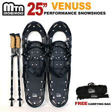 """New MTN 25"""" BLACK All Terrain Snowshoes + Nordic Pole + Free Carrying Bag"""
