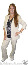 NEW LADIES WOMANS LINEN TROUSERS & JACKET SUIT SIZE 10-18 UK BLACK IVORY BEIGE