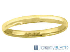 10K Yellow Gold Mens Ladies Hollow Comfort Fit Wedding Ring Band 2mm Size 5-13