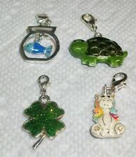 Pick ENAMEL BRACELET CHARM Dangle Fish In Bowl Turtle Sparkle Shamrock Unicorn