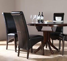 Dark Hudson & Boston Round Extending Dining Table and 4 6 Chairs Set (Black)