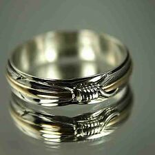 NATIVE AMERICAN Gold & Silver Feather Wedding Band Ring