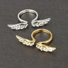 Gold/Silver Gorgeous Fantastic Angel Wing Crystal Rhinestone Ring Lovely Sizable